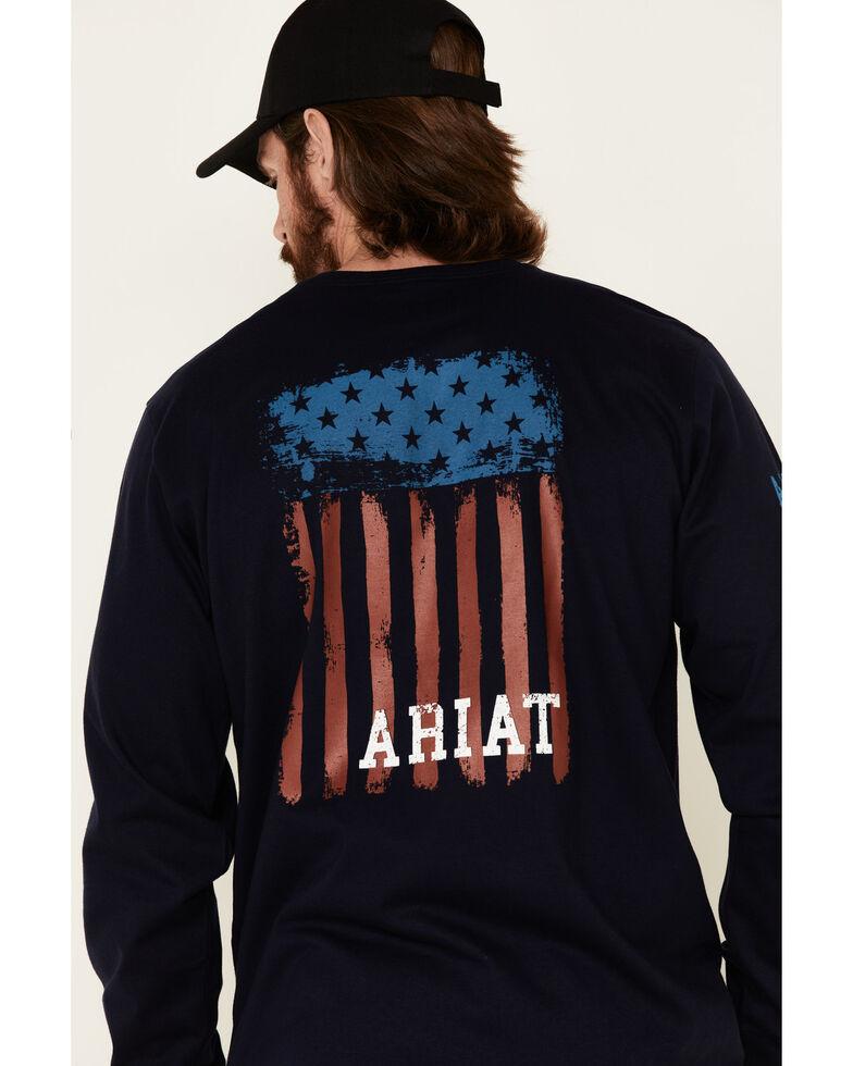 Ariat Men's Navy FR Americana Graphic Crew, Navy, hi-res