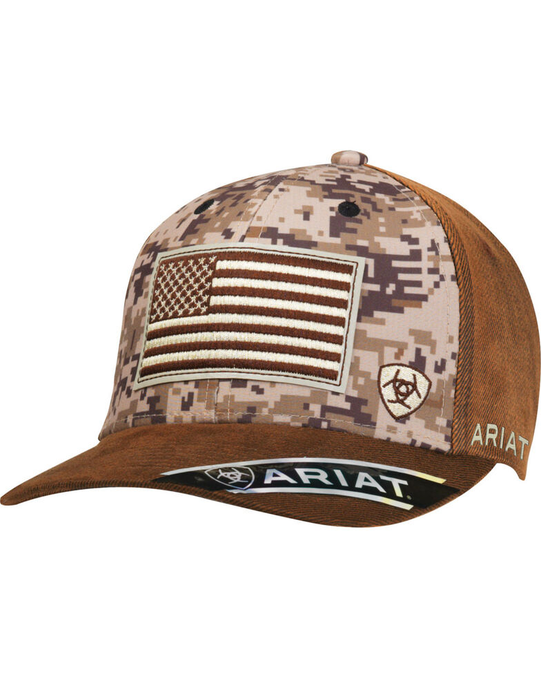 Ariat Men's Brown Digi Camo Flag Ball Cap, Camouflage, hi-res
