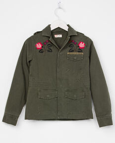 Miss Me Girls' Flower Power Jacket, Green, hi-res