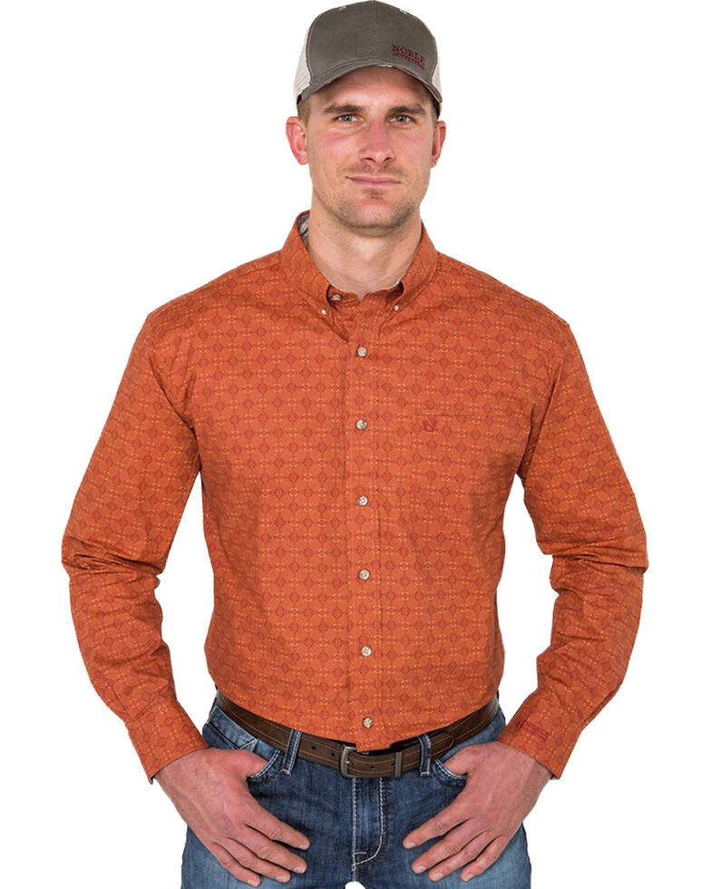 Noble Outfitters Men's Burnt Sienna Geo Print Long Sleeve Western Shirt , Rust Copper, hi-res