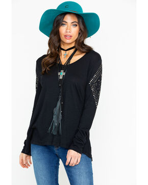 Ariat Women's Slub V-Neck Studded Long Sleeve Top , Black, hi-res