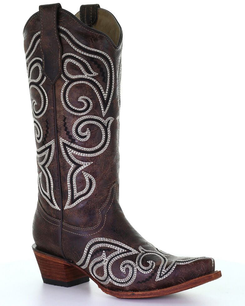 Circle G Women's Brown Embroidery Western Boots - Snip Toe, Brown, hi-res