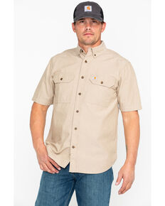 Carhartt Men's Short Sleeve Chambray Shirt, Tan, hi-res