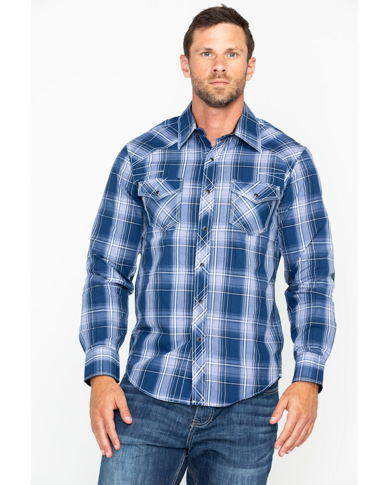 Ely Cattleman Men's 1878 Young Plaid Long Sleeve Western Shirt , Navy, hi-res
