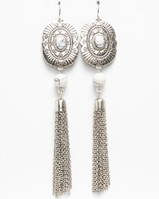 Shyanne Women's White Falls Fringed Concho Earring , Silver, hi-res