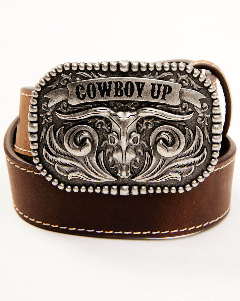 Cody James Boys' Cowboy Up Western Belt, Brown, hi-res
