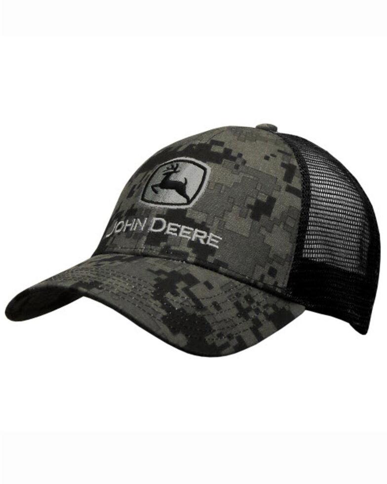 John Deere Men's Digi Camo Logo Embroidered Mesh Ball Cap , Black, hi-res