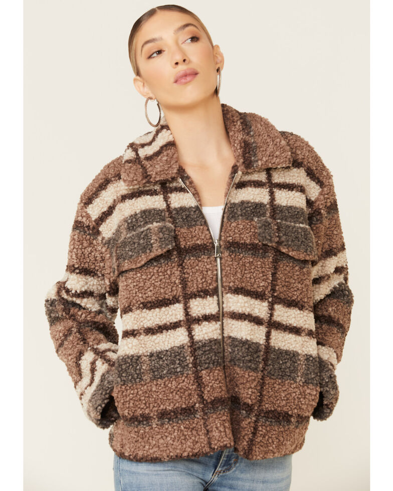 26 International Women's Brown Plaid Sherpa Lined Zip Jacket , Brown, hi-res