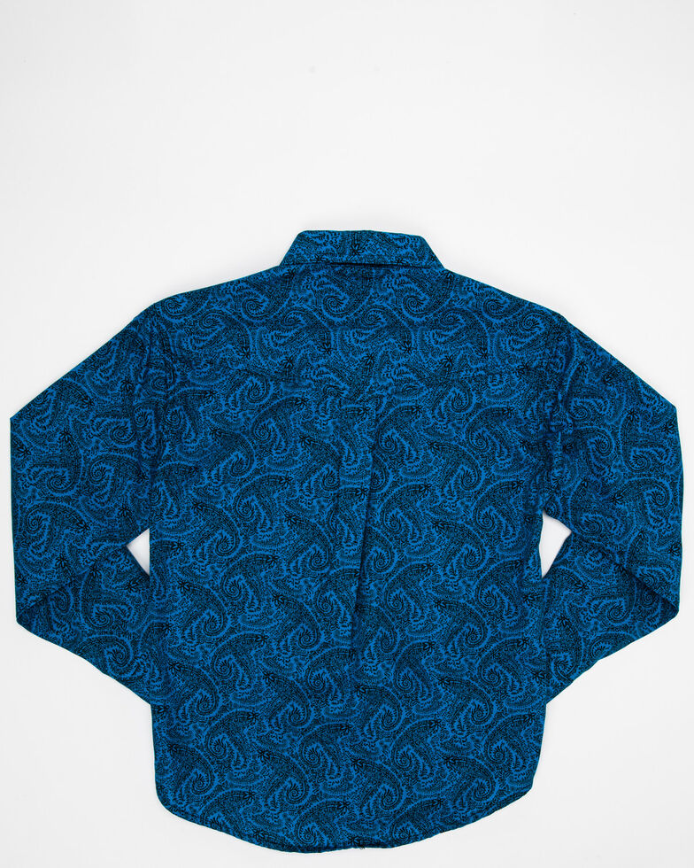 Roper Boys' Amarillo Gentlemans Paisley Print Long Sleeve Western Shirt , Turquoise, hi-res