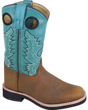 Smoky Mountain Girls' Pueblo Western Boots - Square Toe , Brown, hi-res