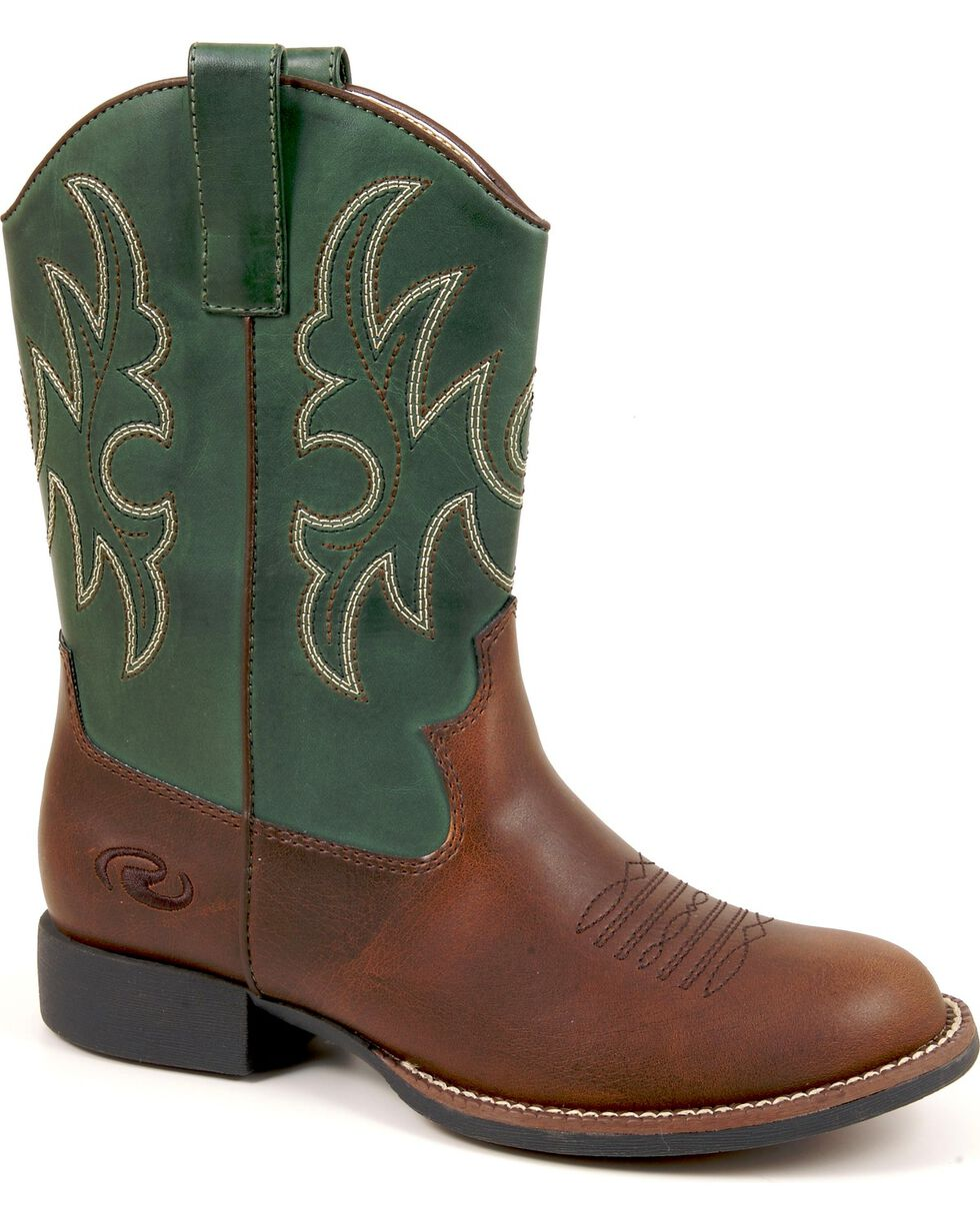 Roper Kid's Stitched Classic Western Boots, Brown, hi-res
