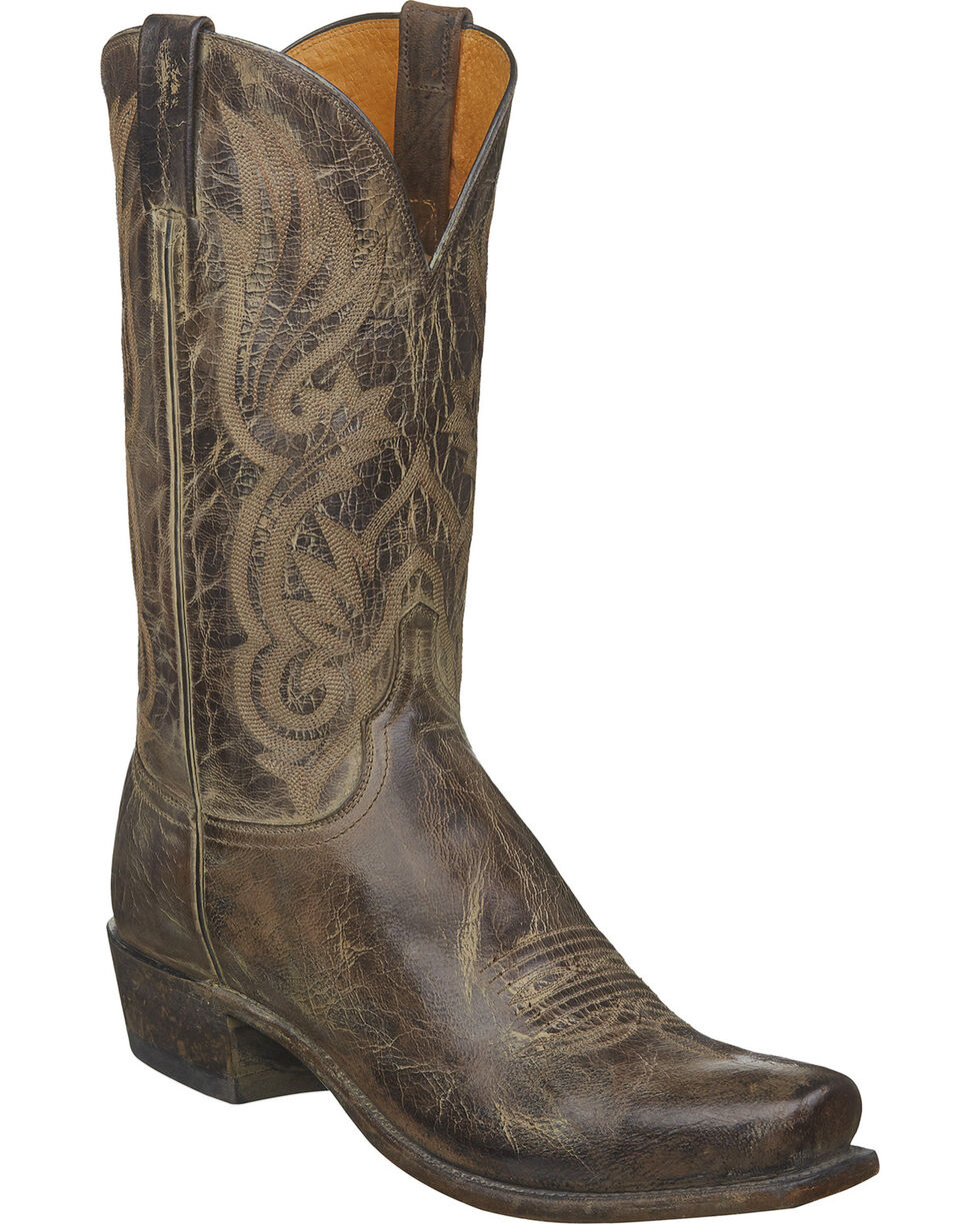 Lucchese Men's Handmade Whittaker Antique Cocoa Mad Dog Goat Western Boots - Square Toe, Brown, hi-res