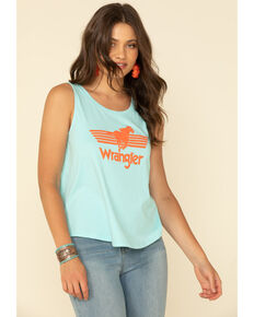 Wrangler Women's Retro Bronco Logo Graphic Tank Top, Blue, hi-res
