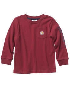 Carhartt Toddler Boys' Pocket Logo Long Sleeve T-Shirt , Red, hi-res