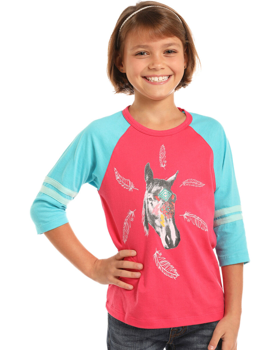 Rock & Roll Cowgirl Girls' Horse & Feather Graphic Tee, Hot Pink, hi-res