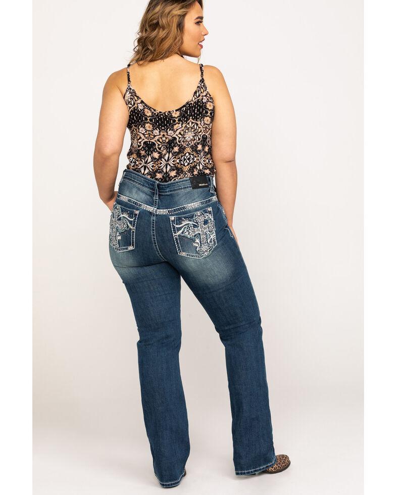 Grace In LA Women's White Cross Embroidered Pocket Straight Jeans - Plus , Indigo, hi-res