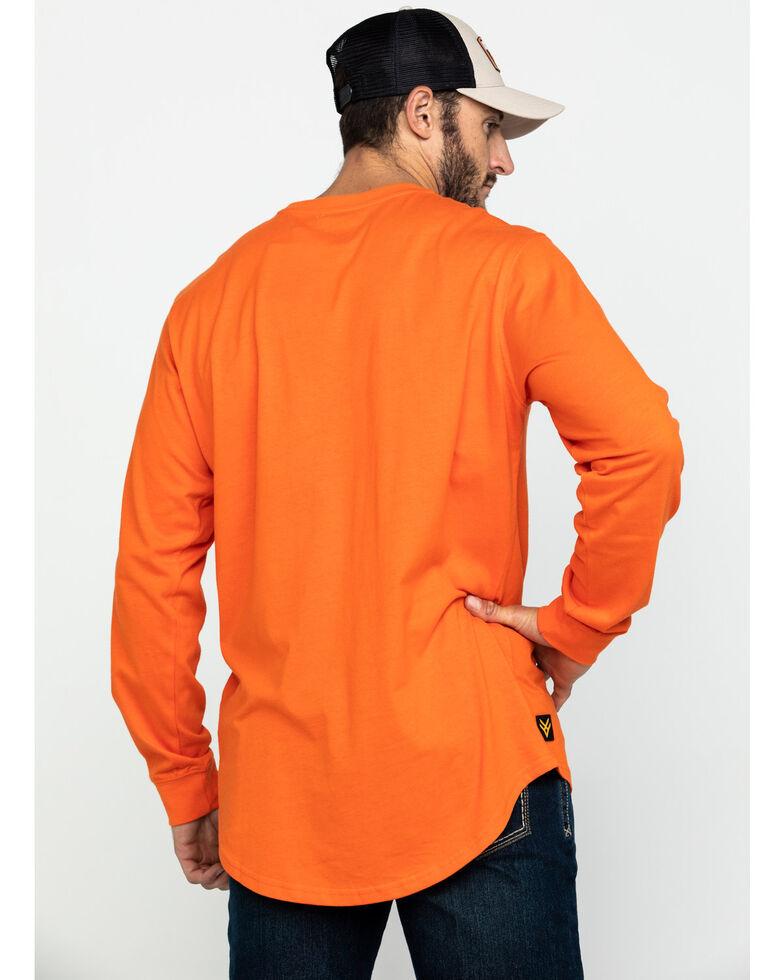 Hawx Men's Orange Logo Long Sleeve Work T-Shirt , Orange, hi-res