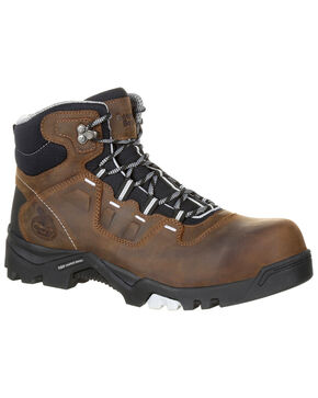 Georgia Boot Men's Amplitude Waterproof Work Boots - Composite Toe, Brown, hi-res