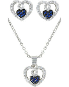 Montana Silversmiths Curlicued Cerulean Heart Jewelry Set, Silver, hi-res