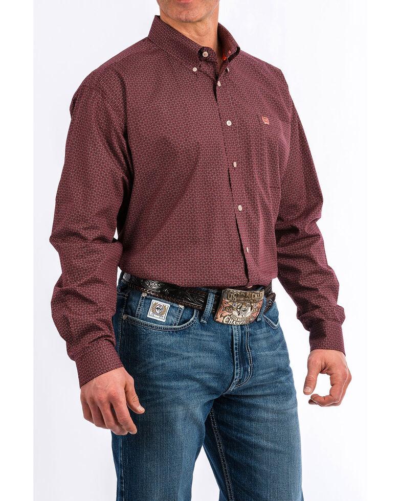 Cinch Men's Men's Purple Geo Print Long Sleeve Western Shirt , Purple, hi-res