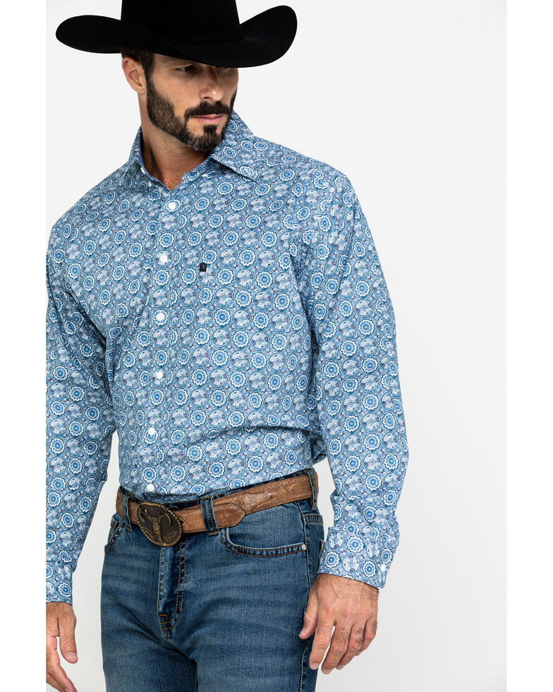 Tuf Cooper Men's Blue Large Stretch Geo Print Long Sleeve Western Shirt , Blue, hi-res