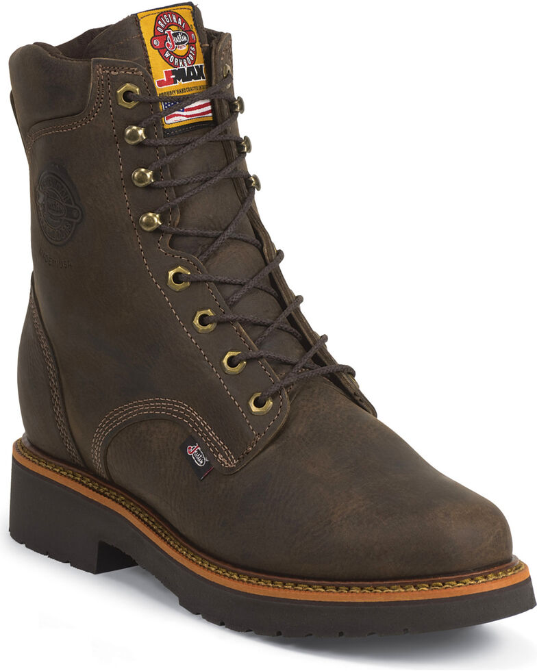 "Justin Men's Rugged 8"" Steel Toe Lace-Up Work Boots, Chocolate, hi-res"