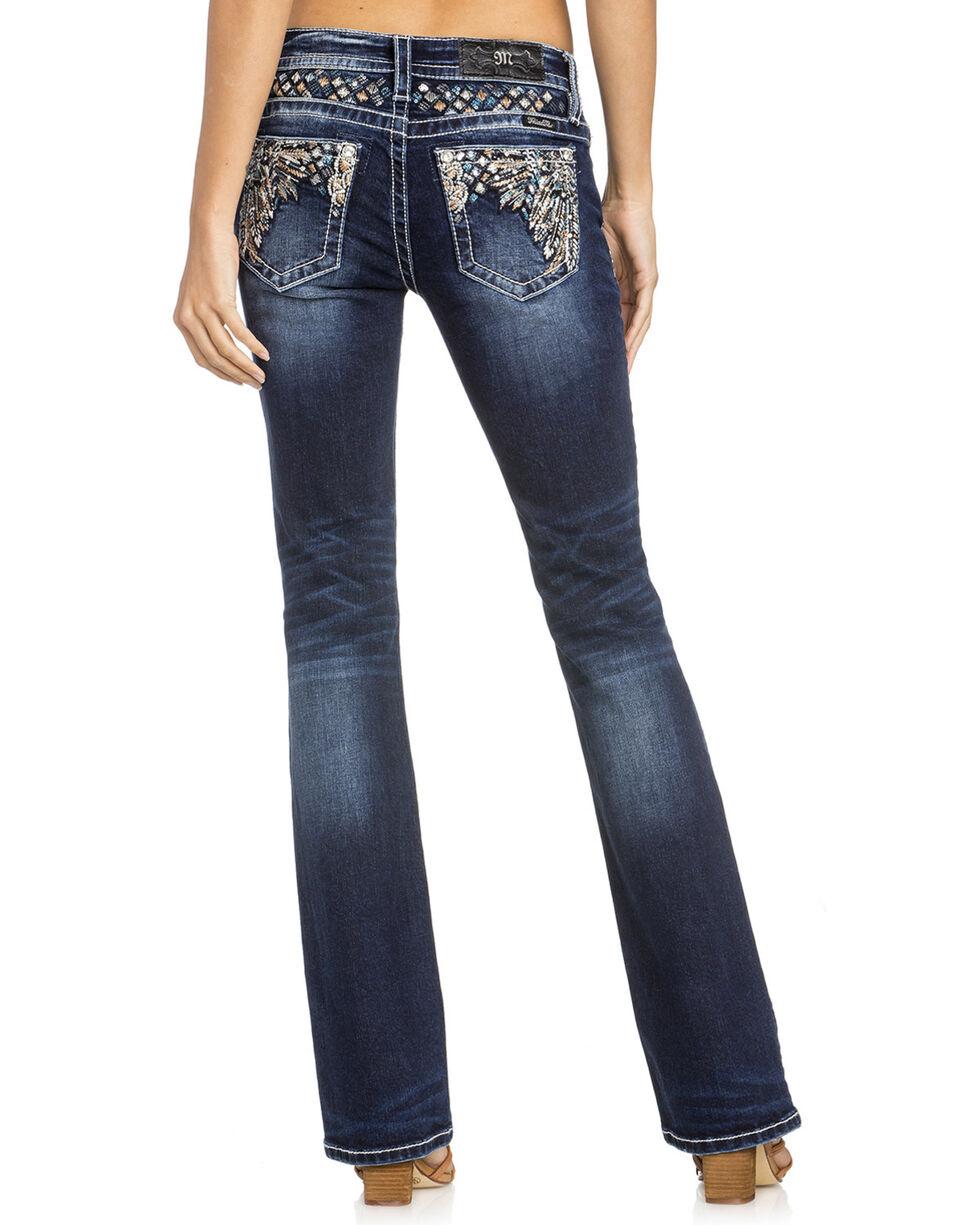 Miss Me Women's Leaf Pocket Boot Cut Jeans, , hi-res
