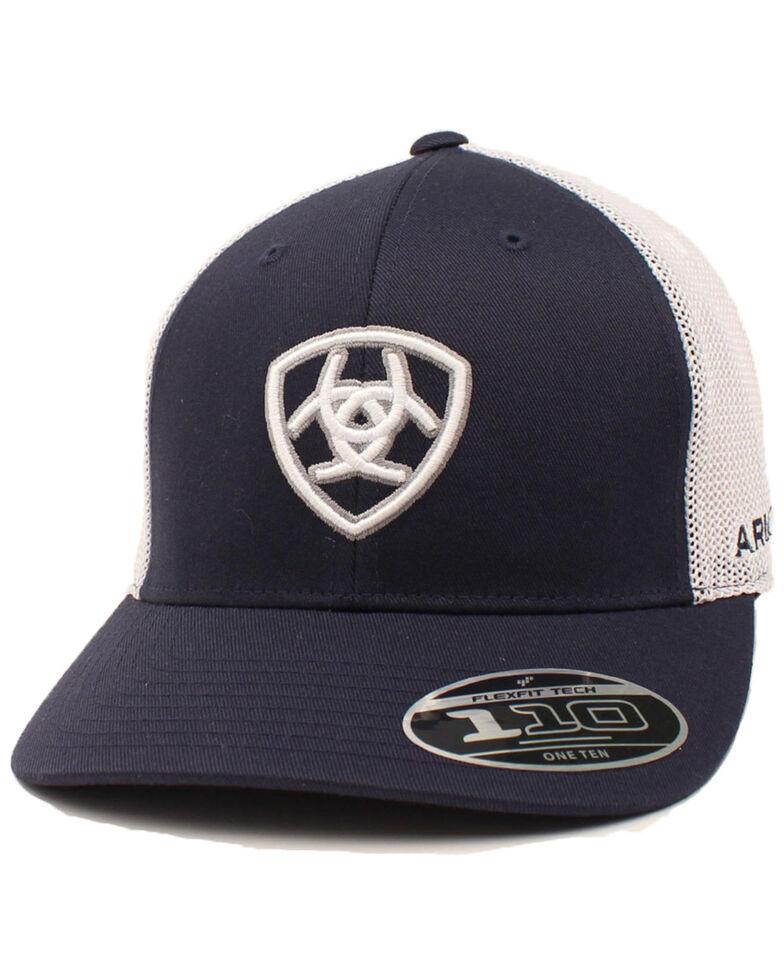 Ariat Men's Navy Embroidered Shield Logo Flex Fit Mesh Cap , Navy, hi-res