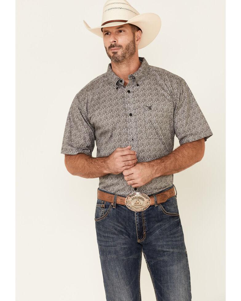Cowboy Hardware Men's Grey Geo Print Team Roping Short Sleeve Button-Down Western Shirt , Grey, hi-res