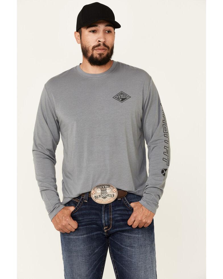 HOOey Men's Grey Captain Bamboo Logo Long Sleeve T-Shirt , Black, hi-res