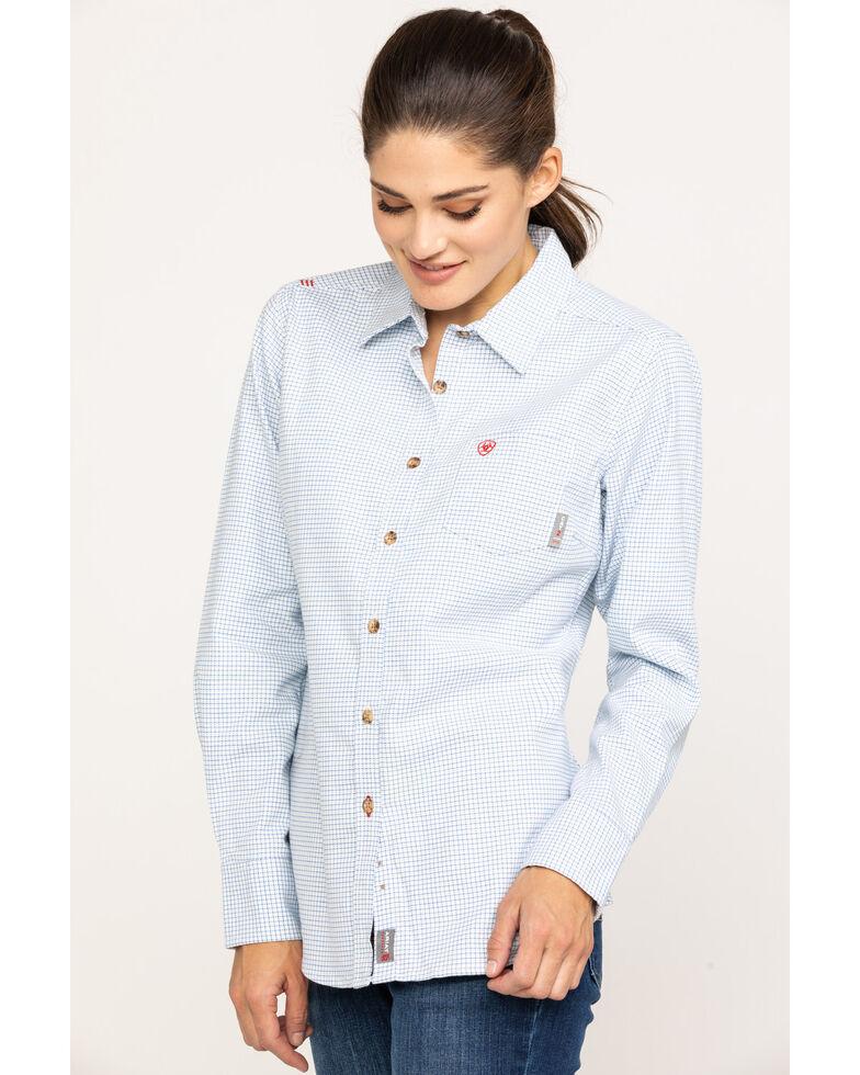Ariat Women's FR White Hermosa Durastretch Work Shirt , White, hi-res