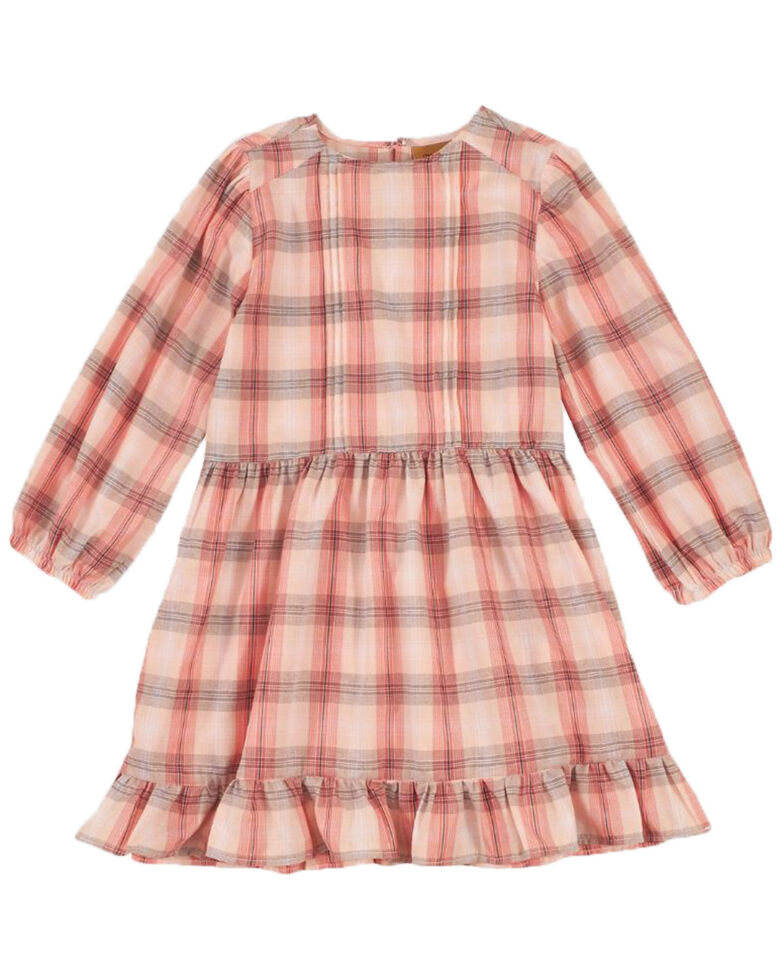 Wrangler Girls' Cream Plaid Long Sleeve Ruffle Trim Dress, Cream, hi-res