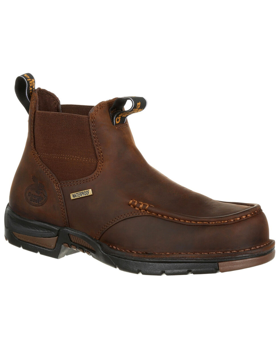 Georgia Boot Men's Chelsea Waterproof Work Boots - Moc Toe, Brown, hi-res