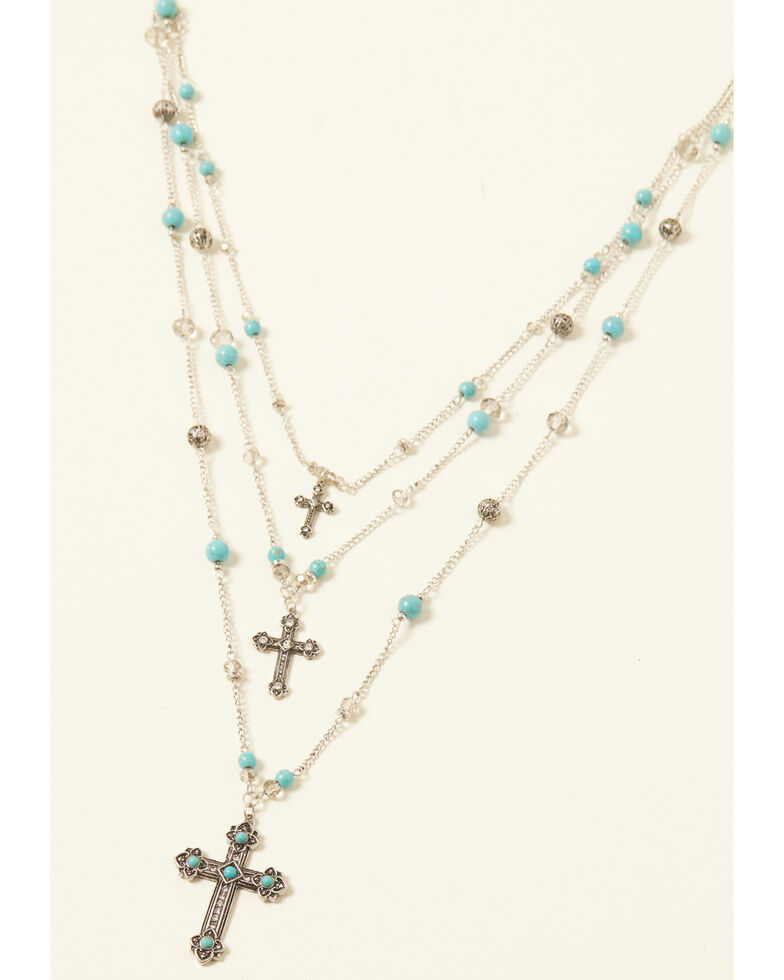 Shyanne Women's Turquoise Cross Three Tier Beaded Cross Set, Silver, hi-res