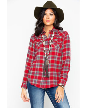 Wrangler Women's Plaid Long Sleeve Flannel Shirt , Red, hi-res