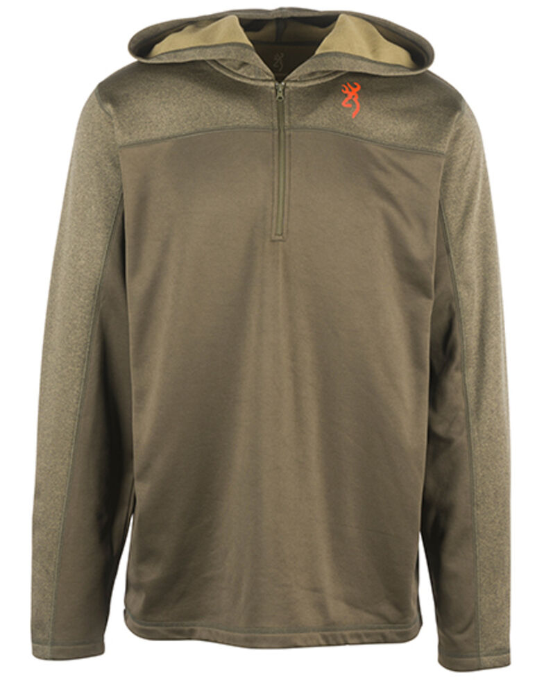Browning Men's Grey Hayes 1/4 Zip Front Hooded Pullover , , hi-res