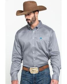 Cinch Men's Tencel Grey Geo Print Long Sleeve Western Shirt , Grey, hi-res