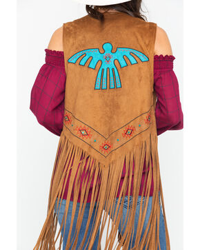 Wrangler Women's Turquoise Thunder Being Faux Fringe Vest , Brown, hi-res