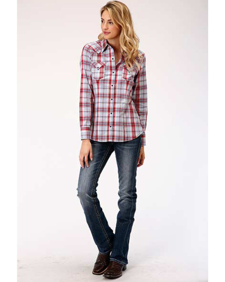 West Made Women's Red Plaid Long Sleeve Western Shirt, Red, hi-res