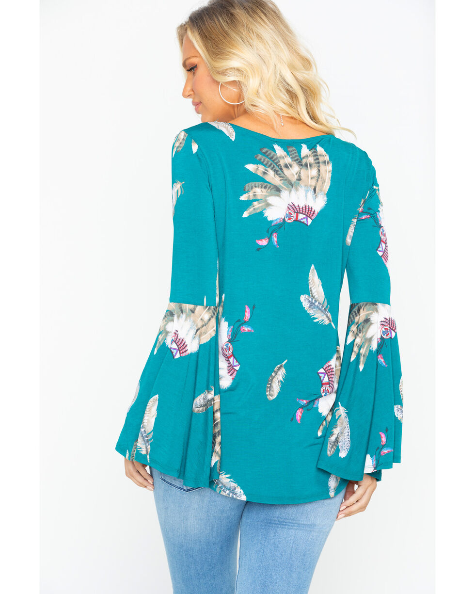 Moa Moa Women's Feathers Cross Bell Sleeve Top, Teal, hi-res