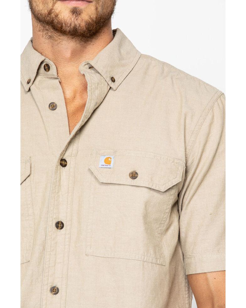 Carhartt Men's Fort Solid Short Sleeve Work Shirt - Big & Tall, Tan, hi-res