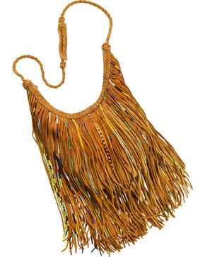 Kobler Leather Tan Bead and Fringe Gypsy Bag , Tan, hi-res