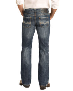 Rock & Roll Cowboy Men's Reflex Vintage Stretch Pistol Regular Straight Jeans , Blue, hi-res