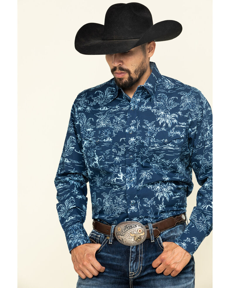 Roper Men's West Made The Tropics Print Long Sleeve Western Shirt , Blue, hi-res