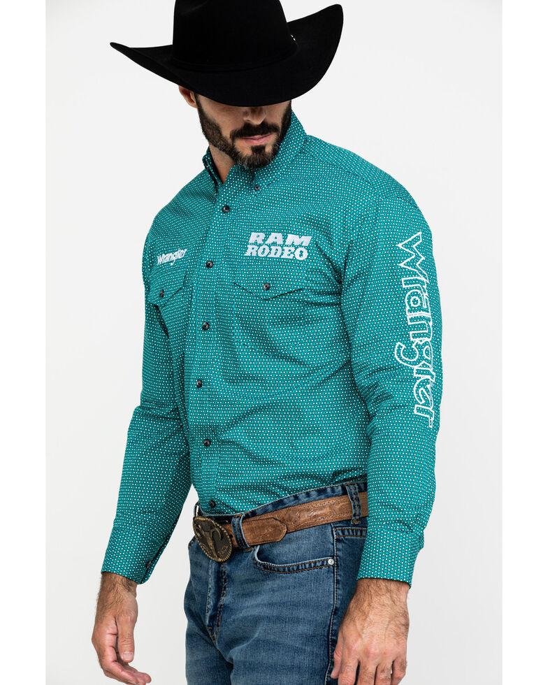 Wrangler Men's Solid Ram Logo Long Sleeve Western Shirt , Teal, hi-res