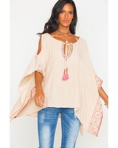 Freeway Apparel Women's Cold Shoulder Tunic , Beige/khaki, hi-res