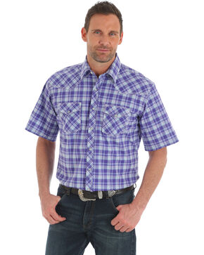 Wrangler 20X Men's Purple Plaid Competition Advanced Comfort Short Sleeve Western Shirt , Purple, hi-res
