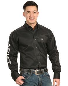 Ariat Men's Black Long Sleeve Logo Long Sleeve Western Shirt , Black, hi-res
