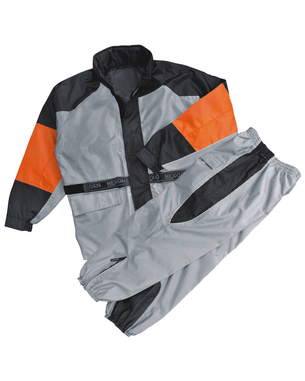 Milwaukee Leather Men's Waterproof Rain Suit with Reflective Piping - 5X, Silver, hi-res