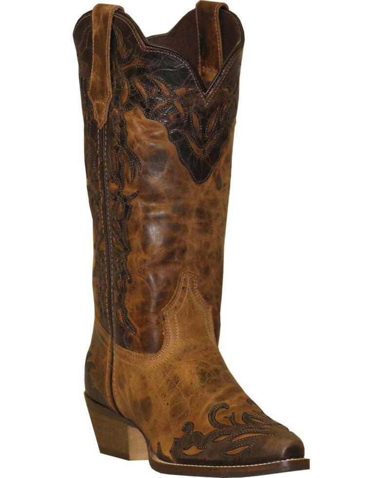"Rawhide Women's 12"" Two-Tone Wingtip Western Boots, Tan, hi-res"